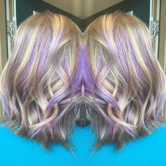 """Blonde hair with purple highlights by taylor nogueira on Instagram: """"purple haze…"""