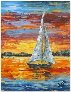 """Original Abstract Palette Knife Oil Painting Art """"SAILING BOAT"""" FRAME AVAILABLE"""