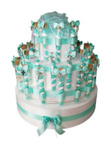 Favour cake made with glass test tubes, decorated with tiffany green ribbon and filled with a choice of dragees, sugared almonds, sweets, #party #favor #favour #favourcake #italian #bomboniere http://www.bombonierashop.com/en/department/12/Favour-Cakes.html
