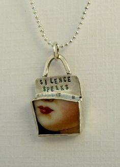 Silence Speaks Up Cycled  Sterling Silver And A by robinwade