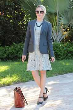 Black / White / Grey Fit & Flare Dress, Theory jacket, business casual, business formal