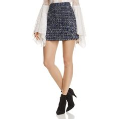 Alice + Olivia Riley Tweed Mini Skirt (3.158.960 IDR) ❤ liked on Polyvore featuring skirts, mini skirts, white short skirt, wet look skirt, white mini skirt, short tweed skirt and white skirt