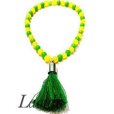 Bracelet pompon agate jaune et verte, bijoux pas cher