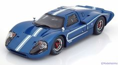 Ford GT40 MK4, 1967, blaumetallic/weiss. Shelby Collectibles, 1/18, No.421. 55€