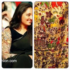 Actress and classical dancer Manju Warrier beautiful in black plain saree paired with black kalamkari full sleeves blouse highlighting the saree.
