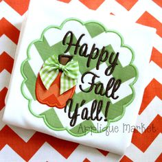Machine Embroidery Design Applique Happy Fall Yall Scallop INSTANT DOWNLOAD on Etsy, $4.00