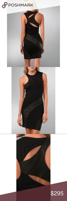 """Alice+Olivia Sheera Ponte Cutout Dress w/ Leather Crew neck make mini dress with tonal 100% leather panels by Alice + Olivia. Sold out everywhere!! Asymmetrical cut outs at back and zip detailing at shoulder. Exposed side zip. 1.15"""" strap at right shoulder & 4"""" strap at left. 36"""" long from shoulder. 75% rayon, 20% nylon, 5% spandex, 100% authentic leather trim. Perfect condition. Alice + Olivia Dresses Mini"""