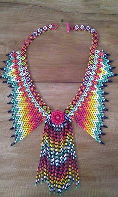 Beading Projects, Beading Tutorials, Beaded Necklace Patterns, Beading Patterns Free, Beaded Crafts, Beaded Collar, Seed Bead Necklace, Bead Jewellery, Bead Crochet