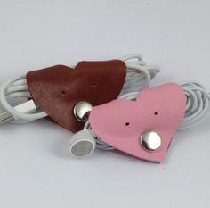 Cute Leather Heart Earphone Useful Data Cable Organiser USB Headphone Holder, Cord Holder, Leather Cord, Leather Craft, Valentine Heart, Valentines, Cord Organization, Cable Organizer, Leather Accessories