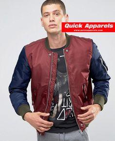 http://www.quickapparels.com/men-burgundy-nylon-bomber-jacket-contrast-sleeves.html