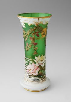 Art Nouveau Mont Joye French Art Glass Vase Cameo Cut Water Lily Flower Pond Pine Boughs Sun from Antik Avenue on Ruby Lane