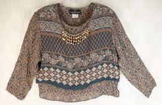 Vintage Carole Little Rayon Shell Bead Semi Sheer Layered Blouse Top 8 #CaroleLittle #Blouse