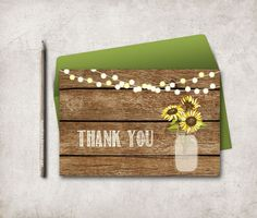 Sunflower Thank You Card Printable, Digital file, Instant Download - Rustic Mason Jar Thank you Card - pinned by pin4etsy.com