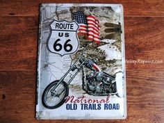 Placa metálica ROUTE 66 OLD TRAILS ROAD - 30 x 40 cm. (Nostalgic Art)