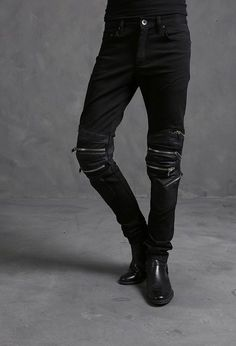 Korea_top k-pop fashion mens Slim skinny pants  Triple zipper leather trousers #nyfashioncity #SlimSkinny