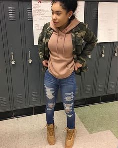 Fall swag outfits, baddie outfits casual, swag outfits for girls, ghetto outfits, Teenage Outfits, Tomboy Outfits, Dope Outfits, Trendy Outfits, Grunge Outfits, Jordan Outfits For Girls, Tims Outfits, Ghetto Outfits, Outfit With Timberlands