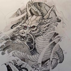 masterclass tattoo how to draw dragons Japanese Dragon Tattoos, Japanese Tattoo Art, Japanese Tattoo Designs, Samurai Tattoo, Samurai Art, Tattoo Oriental, Magic Tattoo, Dragon Sketch, Black And White Sketches