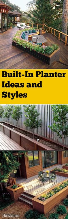 Built-in planter boxes and landscape ideas. Gorgeous planter box ideas with built-in garden boxes for your deck or patio. Backyard Projects, Outdoor Projects, Backyard Patio, Backyard Landscaping, Landscaping Ideas, Decking Ideas, Diy Projects, Backyard Ideas, Back Yard Deck Ideas
