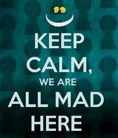 Keep Calm, We are All Mad Here. you are mad too. (Alice in Wonderland) Keep Calm Posters, Keep Calm Quotes, Me Quotes, Moving Quotes, Quotes App, Lewis Carroll, We All Mad Here, Keep Calm Signs, Keep Calm Funny