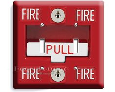 Fire Alarm Pull Down Design Double Light Switch Cover Wall Plate Boys  Bedroom Game Room Fireman Man Cave Garage Home Decor Art Decoration