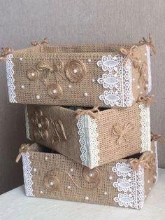 KingstonS yute de arpillera banderines con coraz/ón y lazos de encaje decoraci/ón de boda