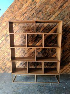 Custom Walnut Book/Record shelf with Brass Colored Metal Base