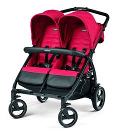 """Peg Perego Book for Two Baby Stroller-Mod Red. Made In Italy. Travel system with adapters, the Book for Two can accept either one or two Primo Viaggio 4/35 car seats. Very Large, practical and easy loading storage basket with smaller pockets included. Both seats have a generous recline that can be implemented independently, allowing children their preferred comfort level. Front bumper bar hinges open for easy access to both children. Outfitted in """"Prima Classed"""" material. Travel system…"""
