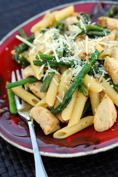 Aleppo Pepper Chicken, Asparagus and Pasta