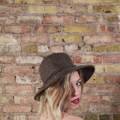 face the truth wool hat / wide brim hat / by arsenickittyvintage