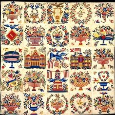 I would never try to make this, but ain't it great. Baltimore Album Quilt -1846. Made by Mary Simon. DAR Museum.