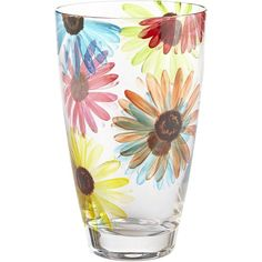 Pier 1 Imports Colorful Daisy Tumbler ($4.48) ❤ liked on Polyvore featuring home, kitchen & dining, drinkware, pier 1 imports and everyday drinkware