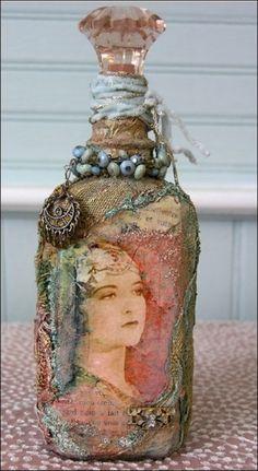 Shabby chic vintange bottle.