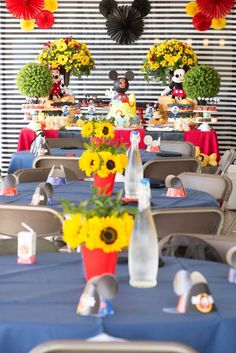 Party tables from a Mickey Mouse Clubhouse Birthday Party on Kara's Party Ideas | KarasPartyIdeas.com (6)