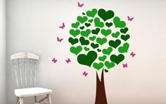 Heart Leafed Tree Wall Decal-Tree wall decals, kids room wall decals, living room wall decals, kitchen wall decals, children room wall decals, tree wall stickers