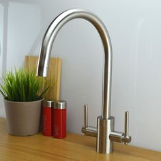 Olympus Kitchen Tap Brushed Steel • Kit includes fixtures and fittings  • Ceramic disc cartridge  • Manufactured from solid brass with a Brushed Steel finish  • Minimum Pressure – 0.5 Bar (flow rate of 6.2 litres per minute)  • Suitable for all plumbing systems  • 10 Year Warranty Brushed Steel Kitchen Taps, Sink Mixer Taps, 5 Bar, Chrome Finish, Kitchen Sink, Plumbing, Designer, Modern, Kitchen Design