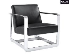 The modern Sunpan Clevelander Club Chair boasts a polished stainless steel cube frame and simple seat design. This club chair is upholstered in luxurious. Contemporary Armchair, Modern Armchair, Modern Chairs, Contemporary Furniture, Black Leather Armchair, Swivel Barrel Chair, Upholstered Dining Chairs, Chair Upholstery, Occasional Chairs