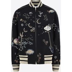 Valentino Varsity Jacket In Embroidered Felt ($6,180) ❤ liked on Polyvore featuring outerwear, jackets, black, varsity style jacket, felt jacket, zip jacket, tall jackets and zip pocket jacket