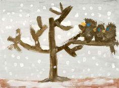 3 Spatzen im Schnee nach Christian Morgenstern