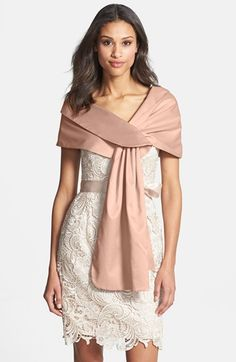 Free shipping and returns on Adrianna Papell Satin Wrap at Nordstrom.com. One end is pulled through a slit in the other to fasten a satin shawl-collared evening wrap that drapes casually around the shoulders.