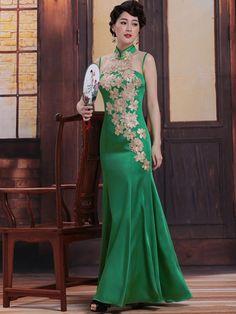 Custom Tailored Green Mermaid Qipao / Cheongsam Dress with Applique