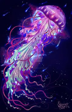 Space Jelly by SamanthaSawyer on DeviantArt - Jellyfish Jellyfish Facts, Jellyfish Light, Jellyfish Drawing, Jellyfish Painting, Jellyfish Tattoo, Pink Jellyfish, Watercolor Jellyfish, Princess Jellyfish, Tattoo Watercolor