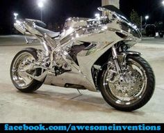Yamaha R1 - Chrome.   wow wtf I want this now
