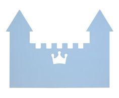 Cabecero de cama Castillo, azul - 90x80 cm