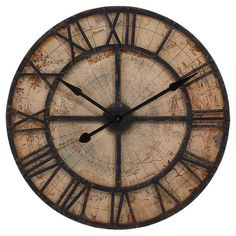 Add a stylish touch to your kitchen or home office with this distressed wall clock, featuring Roman numerals laid over a map-inspired background.