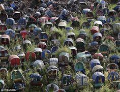 Abandoned rickshaws sit on a hill in Mirpur, Dhaka, Bangladesh