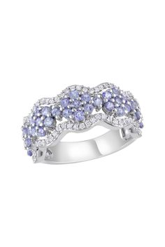 14K White Gold Diamond & Tanzanite Flower Station Ring - 0.33 ctw
