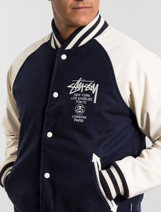 A perennial favorite no matter the trend or season, the Stussy World Tour Varsity Jacket returns, this time in Melton Wool and faux-leather sleeves. Embroidered with iconic Stussy World Tour insign...