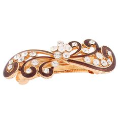 uxcell Metal Floral Design Barrette Style Lady Hair Hairpin Gold Tone Brown ** Click image for more details.