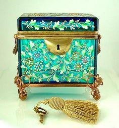 Antique 19c. Moser Blue Art Glass Enamel Jewelry Ormolu Box / Sugar Casket