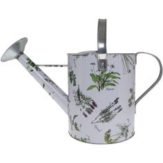 White Herb Print Watering Can